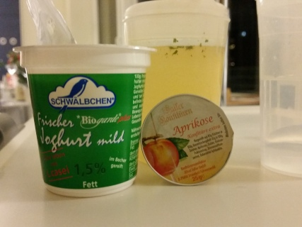 Broth, yogurt and marmalade. This was my supper after the operation.