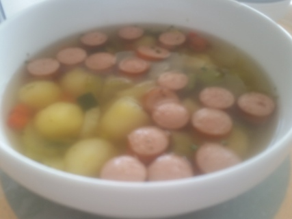 Sausage and potato ball soup